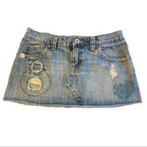 🍎 Roxy Distressed Denim Skirt w/ Embroidered Logo